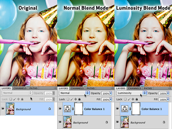 Luminosity Blend Mode allows you to adjust only the gray values in your image