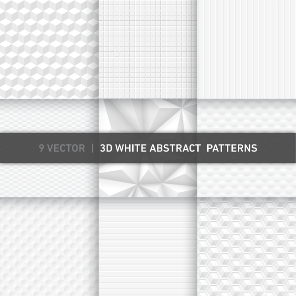 3D White Abstract Vector Patterns