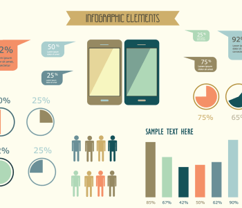 Mobile data infographic vectors