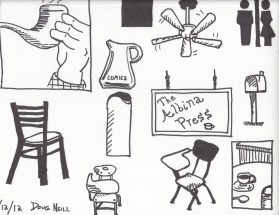The Graphic Recorder - Doug Neill - Sketching with Sharpies - hand pipe pitcher ceiling fan albina press trash can chair desk mug