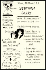 PIELC Sketchnotes Stephen Corry (1) - Doug Neill, the graphic recorder, running into running out, sacred native, tribal peoples, survival international, all white men are created equal, whose environment, whose law