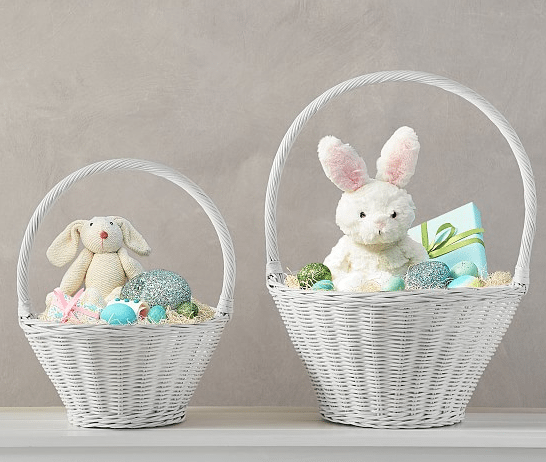 Toddler girls easter basket in white