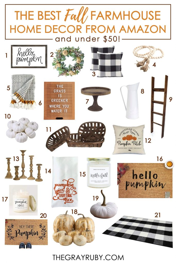 Fall farmhouse home decor from amazon under $50 - fall decor ideas for the home - the best farmhouse fall inspiration - farmhouse fall decorations