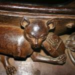 Misericord 14th Century St. Andrews Cathedral, Wells, UK Cat Playing a Fiddle