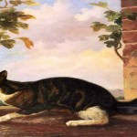 19th C Cat Stalking a Butterfly, John Woodhouse Audubon 1812-18621