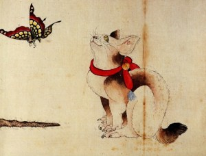 Cat and Butterfly  detail from an ink and color scroll painting, 18th century  Hokusai Smithsonian Institute, Washington DC