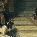 Cornelis de Man Interior of a Townhouse, Detail, cats in art