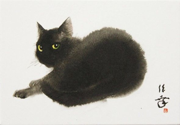 Toshiyuki Enoki, Black Cat Watercolor