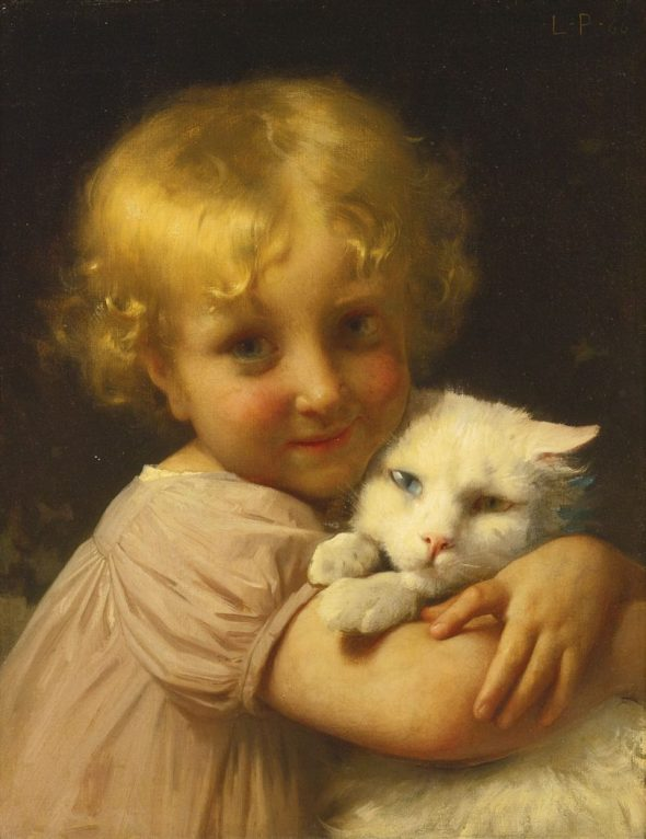 Léon-Jean Bazille Perrault, Child Holding a White Cat