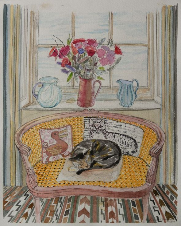 Cat on a Chair with Cushions, Richard Bawden