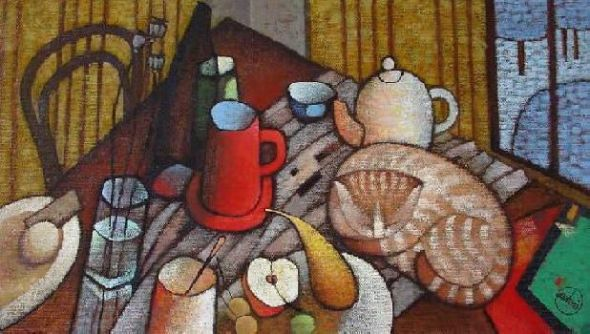 Natalya Trubina - Still Life with a Cat