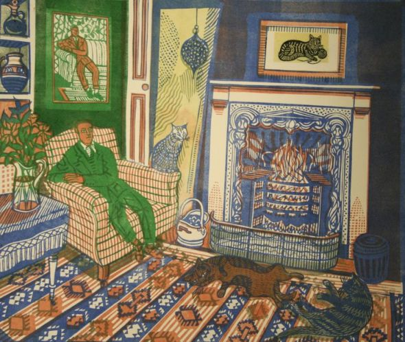Richard Bawden, Fireside II The Green Man, linocut