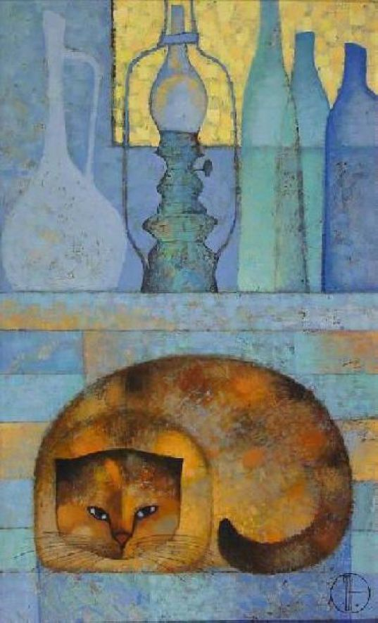 Still Life with Cat and Lamps - Trubina Natalya
