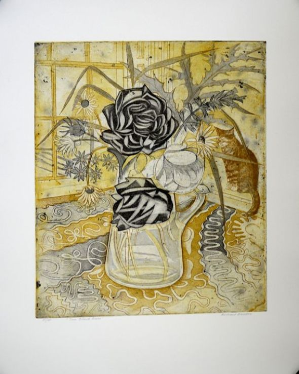 Two black roses (and a cat )  aquatint etching  Richard Bawden