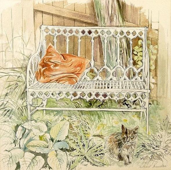 Victorian Garden Seat with Cat, Richard Bawden