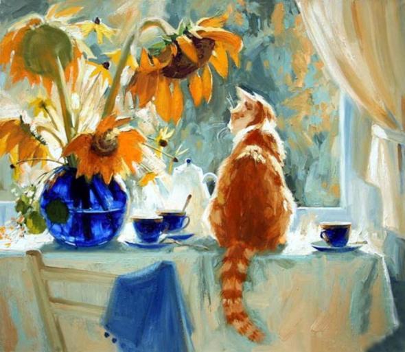 Cat and Sunflowers, Maria Pavlova