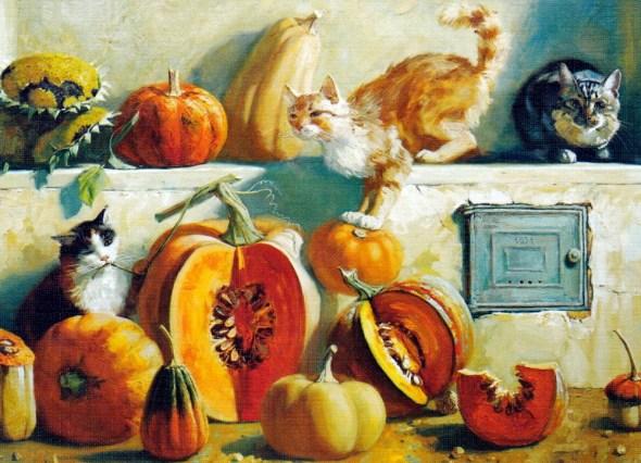 Three Cats and Pumpkins, Maria Pavlova