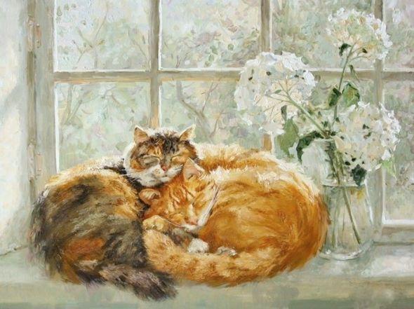 Two Cats on a Window Sill, Maria Pavlova