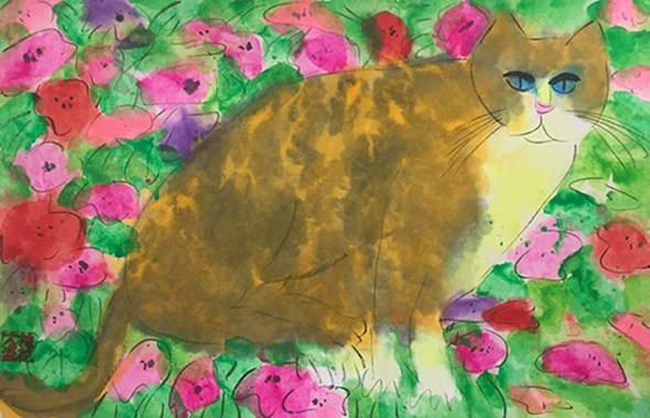 Walasse Ting, Cat by Flowering Bushes