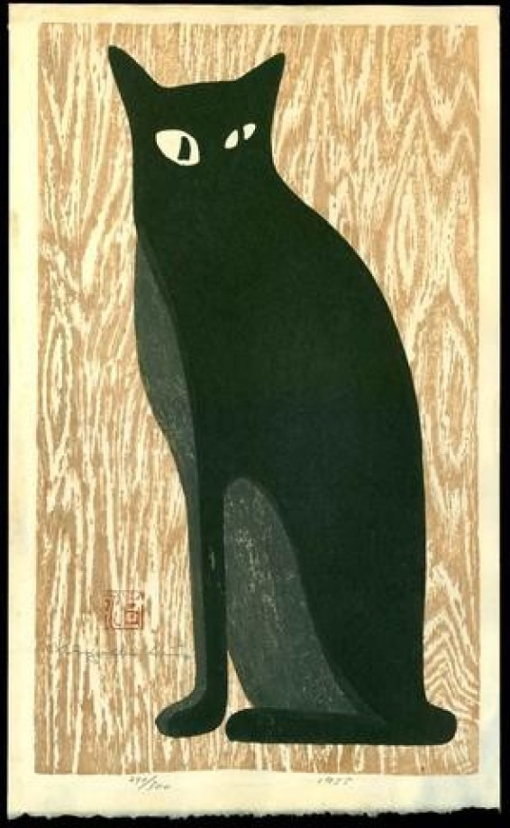 Kiyoshi Saito, Black Cat with Beige Background