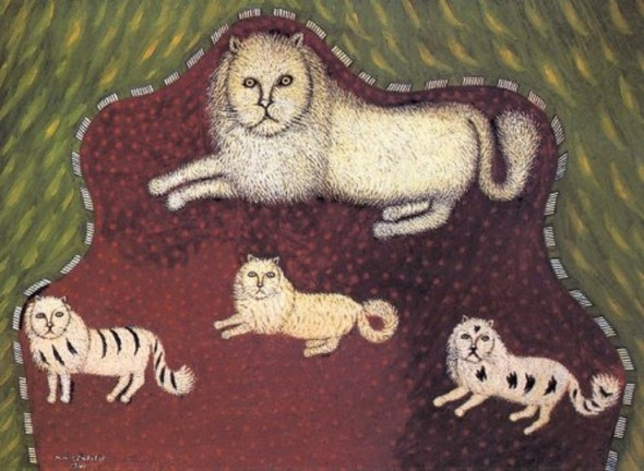 Mother Cat With Kittens by Morris Hirshfield