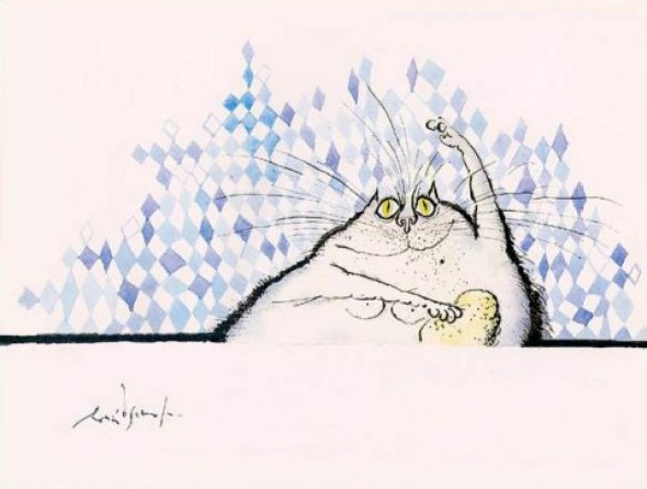 Cat Bathing, Ronald Searle