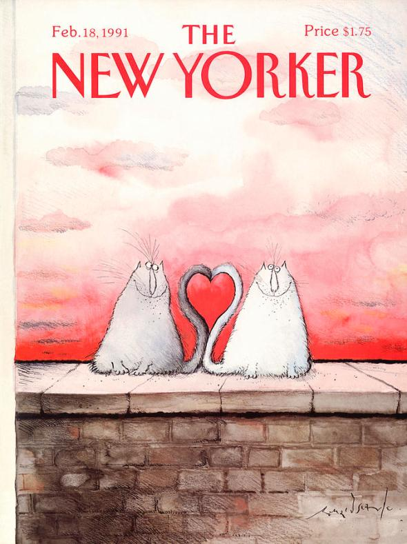 New Yorker Cover, Feb 1991, Ronald Searle