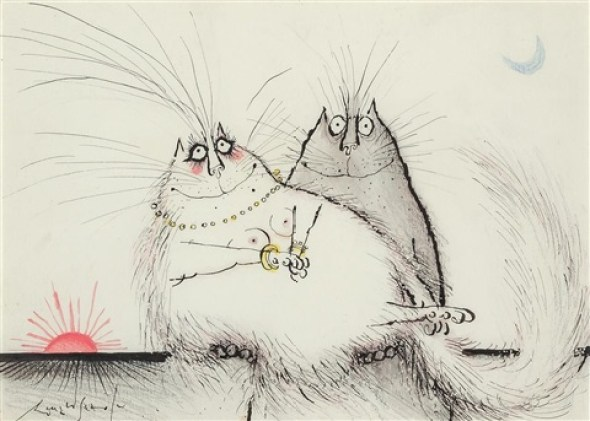 Two Cats Quite Calmly Making Beasts of Themselves, Ronald Searle