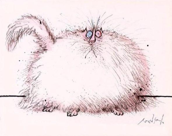 White Puffy Cat, Ronald Searle