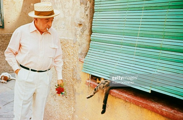Jacques Prevert and Cat In Antibes, 1963
