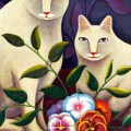Two White Cats with Flowers, Jerzy Marek