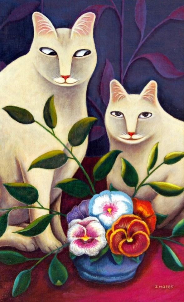 Two White Cats with Flowers, Jerzy Marek