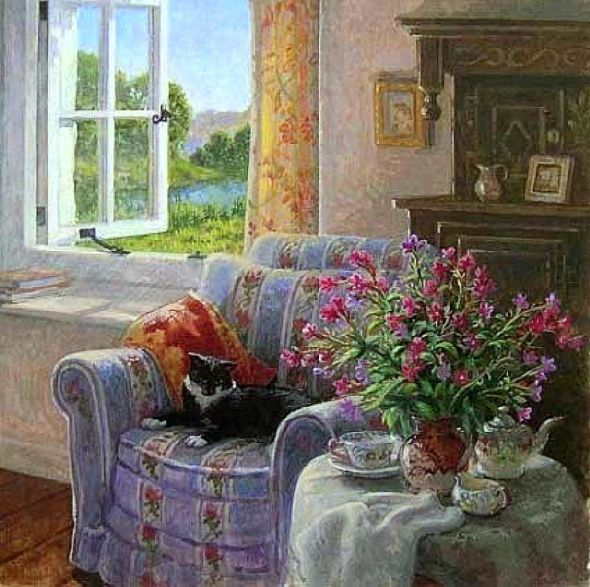 Tuxedo Cat in a Comfortable Chair, Stephen Darbishire