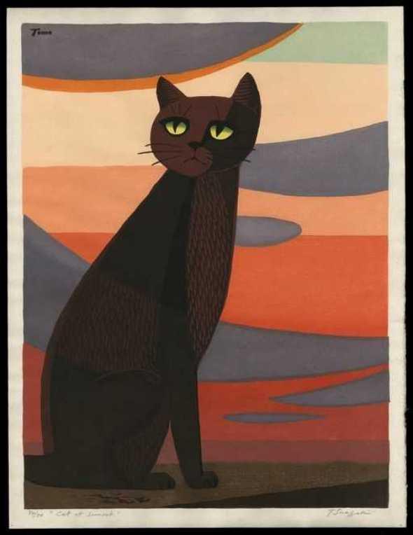 Black Cat at Dusk, Tomoo Inagaki