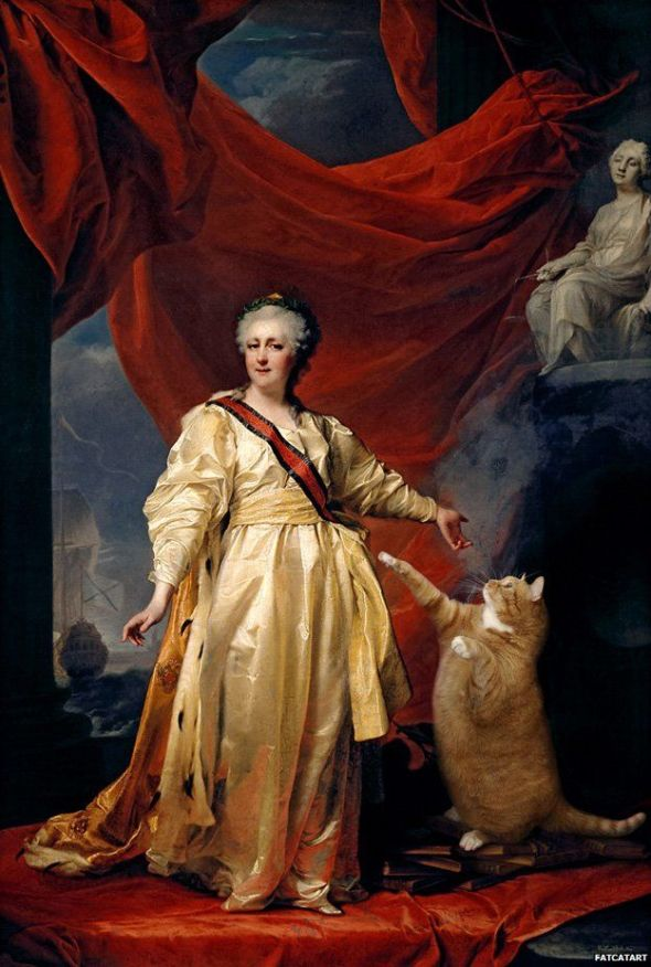 Svetlana Petrova, Portrait of Catherine II the Legislator in the Temple Devoted to the Cat, based on Dmitry Levitsky