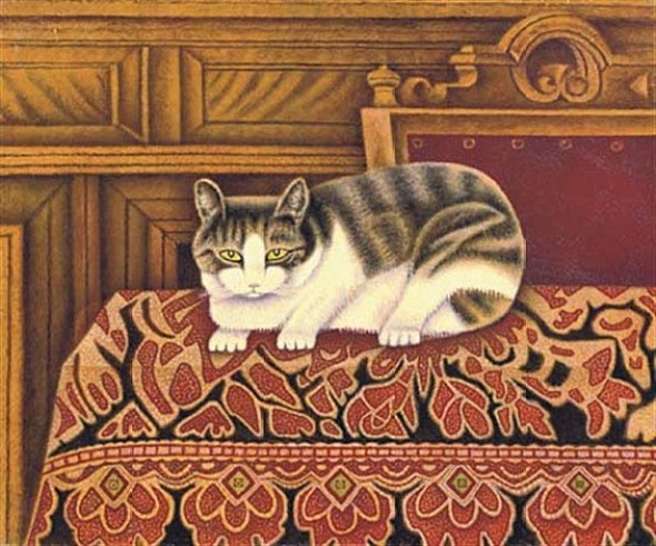 1878 -1965 Sal Meijer Cat on a Rug oil on canvas