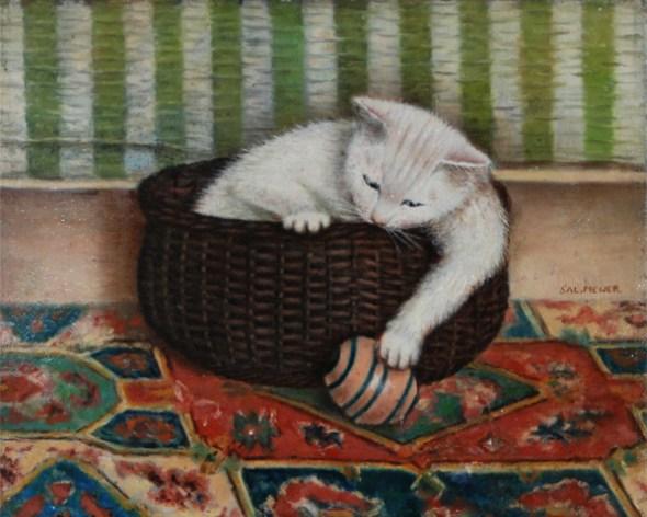1925 Sal Meijer Playful Cat in a Basket