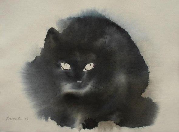 Endre Penovac, Black Cat with Piercing Gaze
