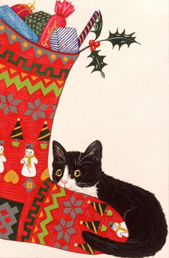 Christmas Kitty with Stocking, Pamela Blanchfield