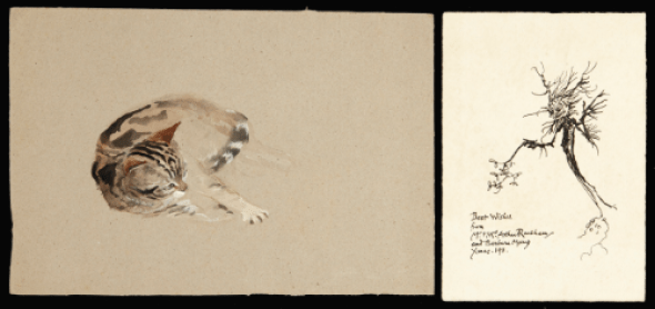 Arthur Rackham, Cat watercolor