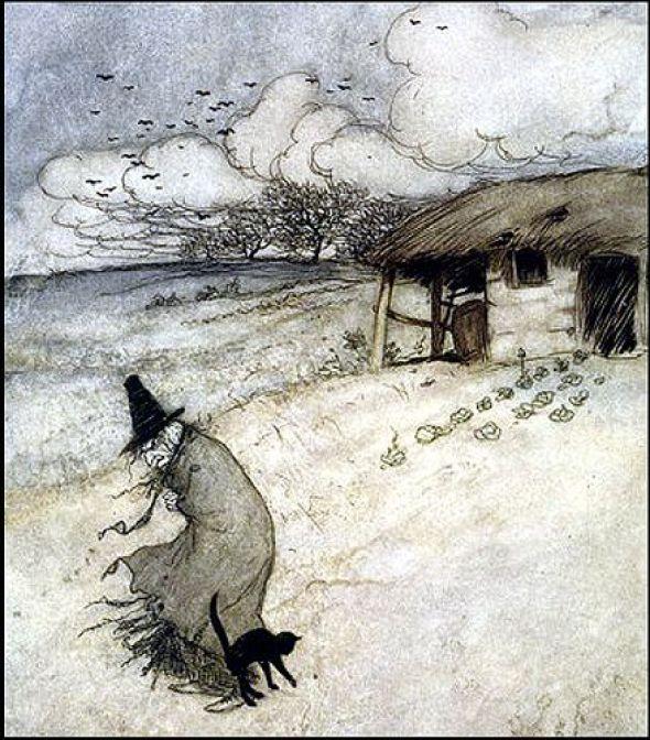 Arthur Rackham, Witch and Cat illustration