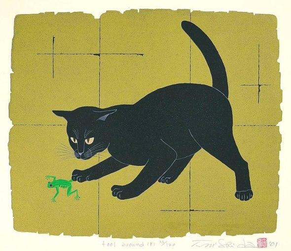 Black cat chasing a frog, Nishida Tadashige
