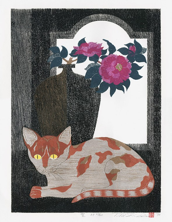 Cat with Flowers,