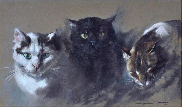 Marino Lenci, Three Cats Seated