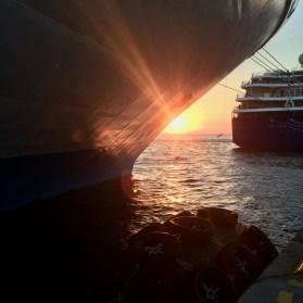 Greek ferry, sunset
