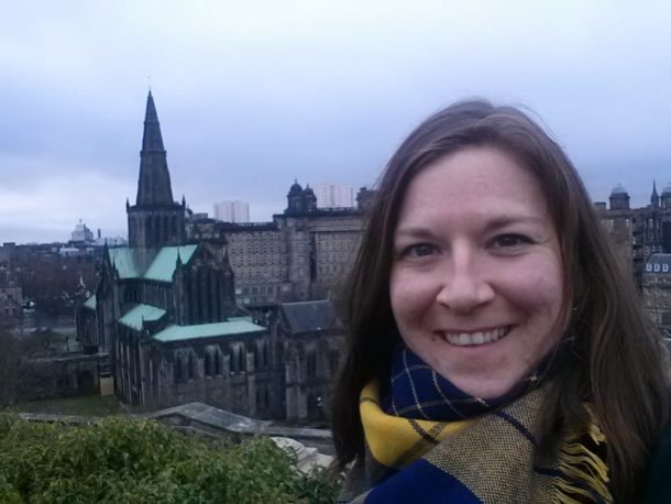 selfie in front of the Glasgow Cathedral