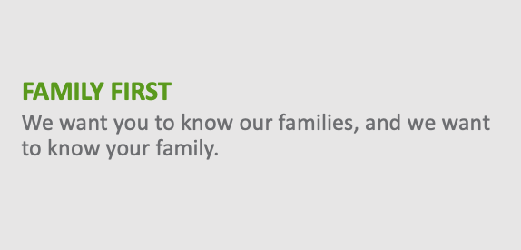 Family First - We want you to know our families, and we want to know your family