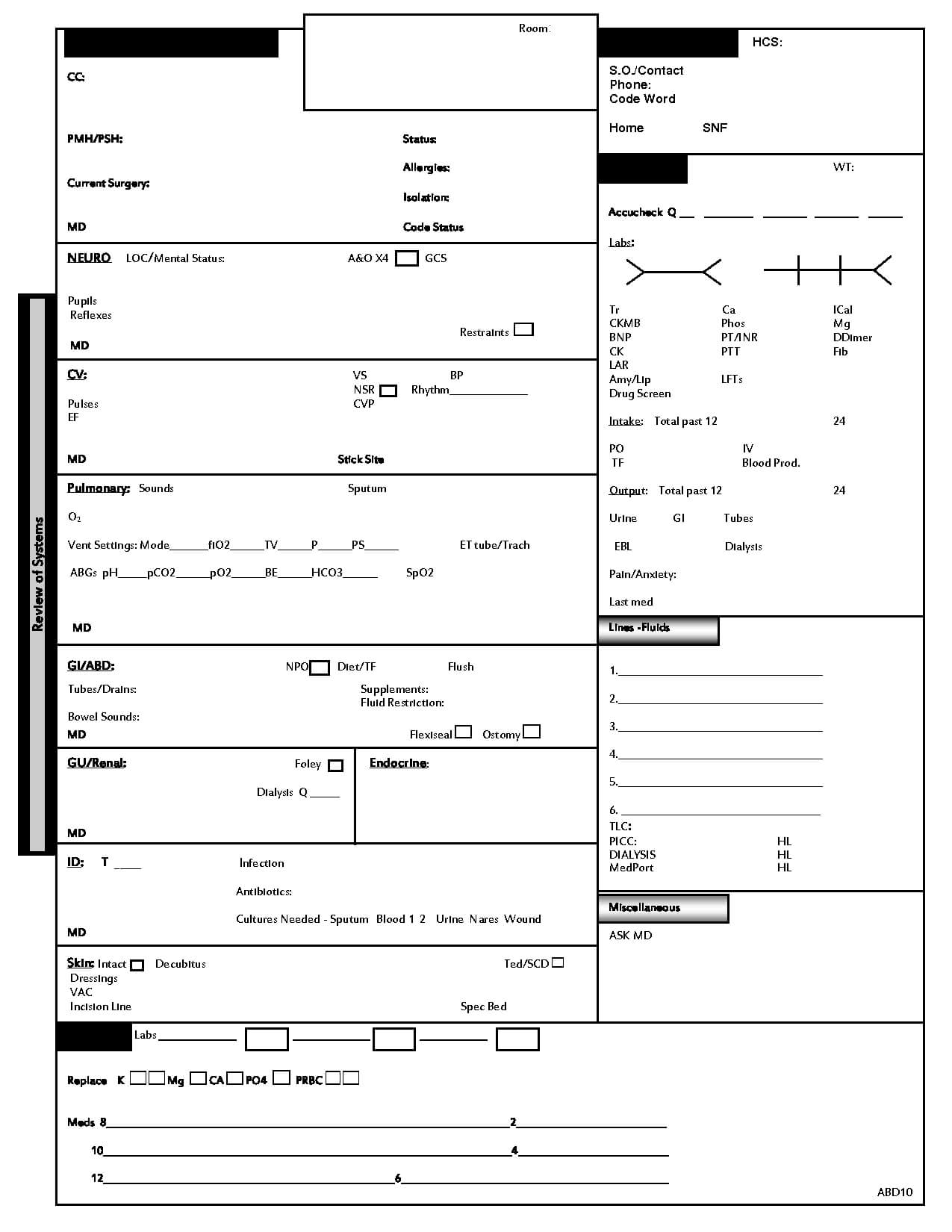 Icu Report Template