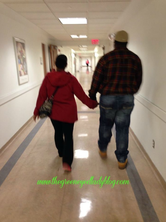 Darrick and I walking in the Hospital Hallways after they took Darrick II for surgery of his Congenital Diaphragmatic Hernia