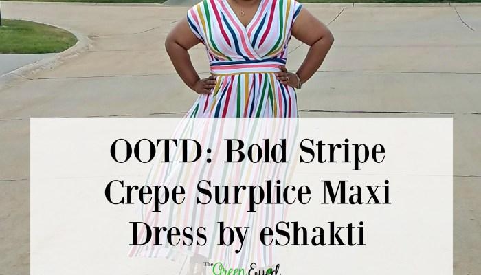 OOTD: Bold Stripe Crepe Surplice Maxi Dress by eShakti